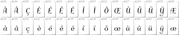 French - Additional glyphs in font Charakterny