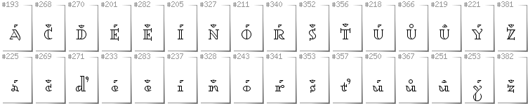 Czech - Additional glyphs in font Dagerotypos