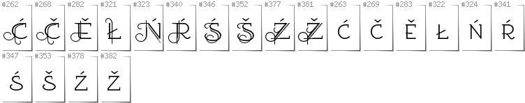 Lower Sorbian - Additional glyphs in font EtharnigSc