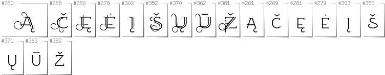 Lithuanian - Additional glyphs in font EtharnigSc