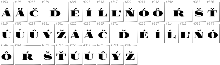 Slovakian - Additional glyphs in font FoglihtenBlackPcs