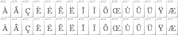 French - Additional glyphs in font FoglihtenNo01
