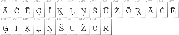 Latvian - Additional glyphs in font FoglihtenNo01
