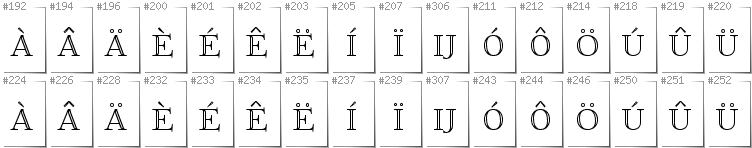 Dutch - Additional glyphs in font FoglihtenNo01