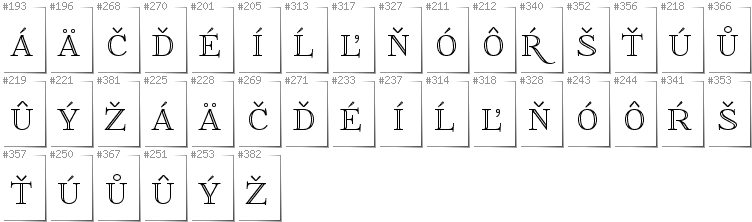 Slovakian - Additional glyphs in font FoglihtenNo01
