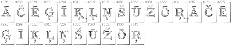 Latvian - Additional glyphs in font FoglihtenNo03