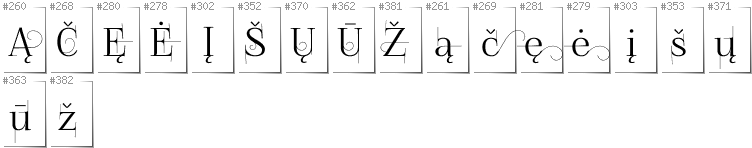 Lithuanian - Additional glyphs in font FoglihtenNo04