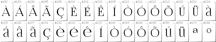 Portugese - Additional glyphs in font FoglihtenNo06
