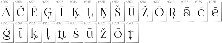 Latvian - Additional glyphs in font FoglihtenNo07