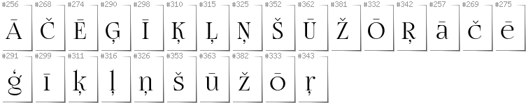 Latvian - Additional glyphs in font FogtwoNo5