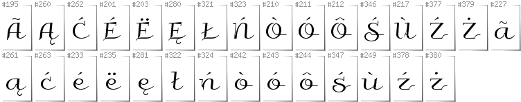 Kashubian - Additional glyphs in font Galberik