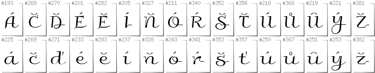 Czech - Additional glyphs in font Galberik