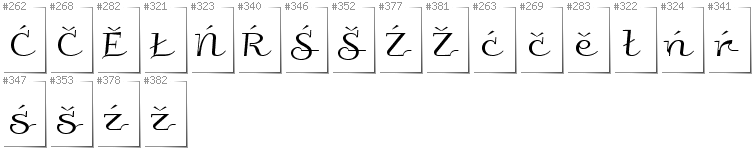 Lower Sorbian - Additional glyphs in font Galberik
