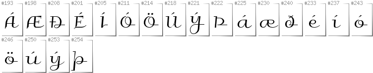 Icelandic - Additional glyphs in font Galberik