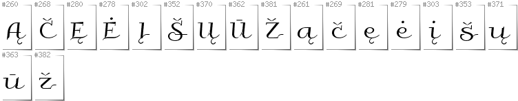Lithuanian - Additional glyphs in font Galberik