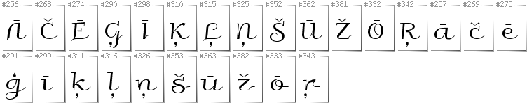 Latvian - Additional glyphs in font Galberik