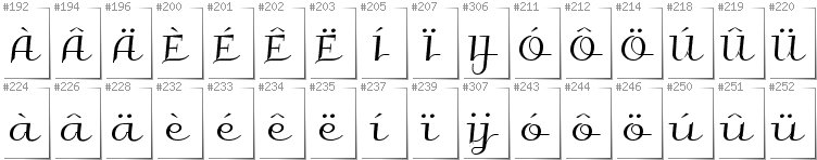 Dutch - Additional glyphs in font Galberik