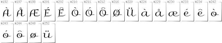 Norwegian - Additional glyphs in font Galberik