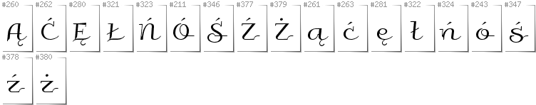 Polish - Additional glyphs in font Galberik