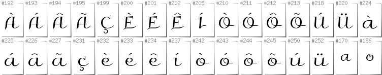 Portugese - Additional glyphs in font Galberik