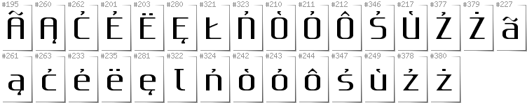 Kashubian - Additional glyphs in font Gputeks