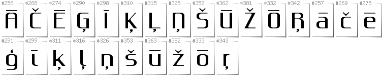 Latvian - Additional glyphs in font Gputeks