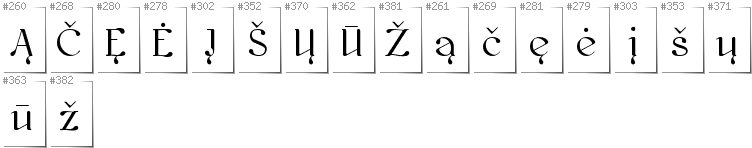 Lithuanian - Additional glyphs in font Kawoszeh