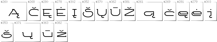 Lithuanian - Additional glyphs in font Ketosag