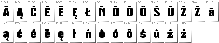 Kashubian - Additional glyphs in font Mikodacs