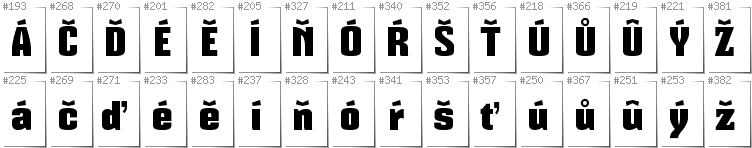 Czech - Additional glyphs in font Mikodacs