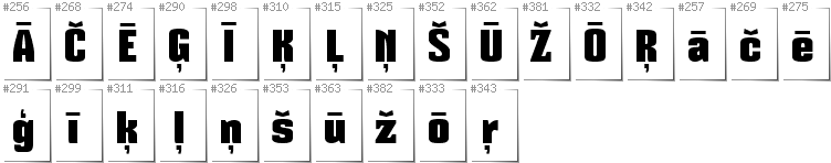 Latvian - Additional glyphs in font Mikodacs