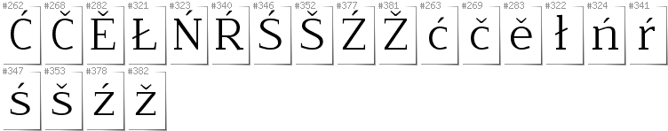Lower Sorbian - Additional glyphs in font NoName02