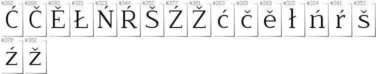 Upper Sorbian - Additional glyphs in font NoName02
