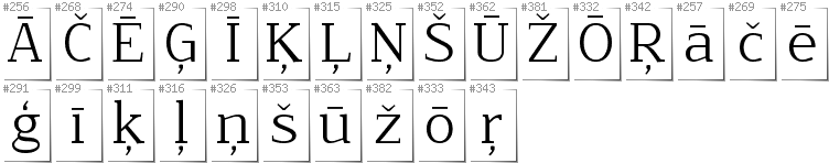 Latvian - Additional glyphs in font NoName02