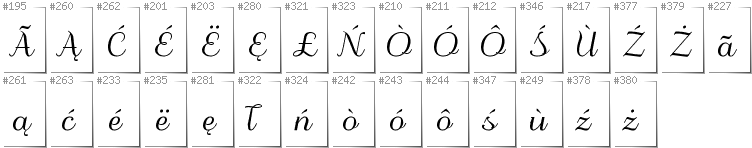 Kashubian - Additional glyphs in font Odstemplik