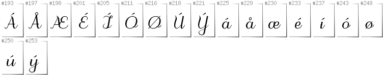 Danish - Additional glyphs in font Odstemplik