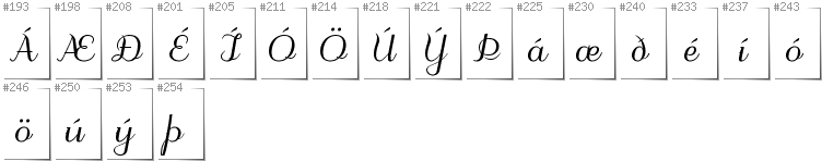Icelandic - Additional glyphs in font Odstemplik