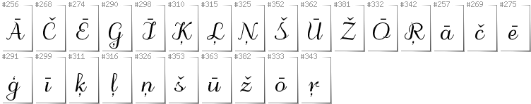 Latvian - Additional glyphs in font Odstemplik