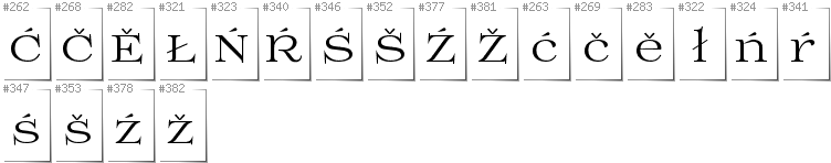 Lower Sorbian - Additional glyphs in font Prida01