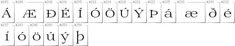 Icelandic - Additional glyphs in font Prida01
