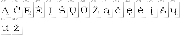Lithuanian - Additional glyphs in font Prida01