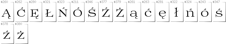 Polish - Additional glyphs in font Prida01