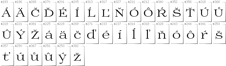 Slovakian - Additional glyphs in font Prida01
