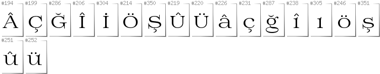 Turkish - Additional glyphs in font Prida01