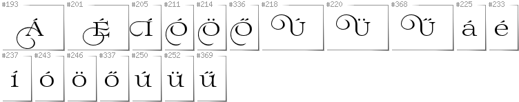 Hungarian - Additional glyphs in font Prida02Calt