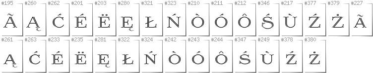 Kashubian - Additional glyphs in font Prida36