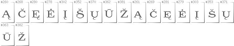 Lithuanian - Additional glyphs in font Prida36