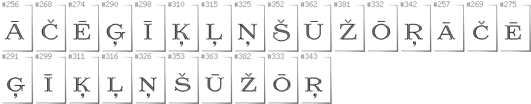 Latvian - Additional glyphs in font Prida36