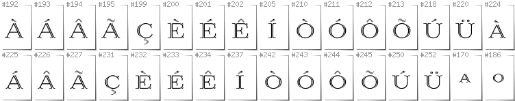 Portugese - Additional glyphs in font Prida36