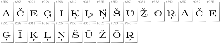 Latvian - Additional glyphs in font Prida61